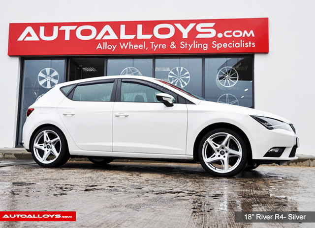 Seat Leon 13 On (5F) 18 inch River R-4 Matt Silver Polished Alloy Wheels
