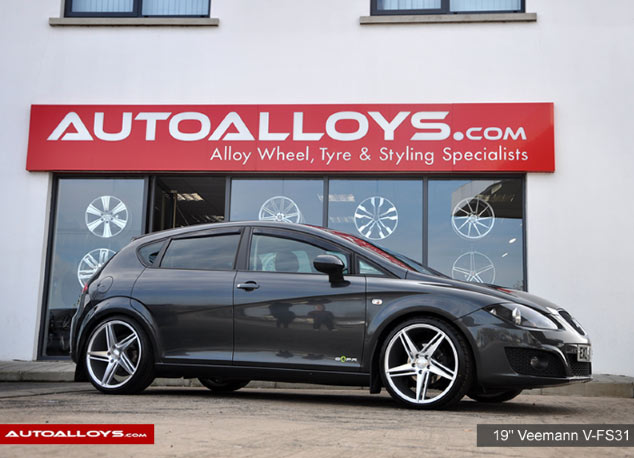 Seat Leon 2013 on  19-veemann-v-fs31-silver-machined-alloy-wheels