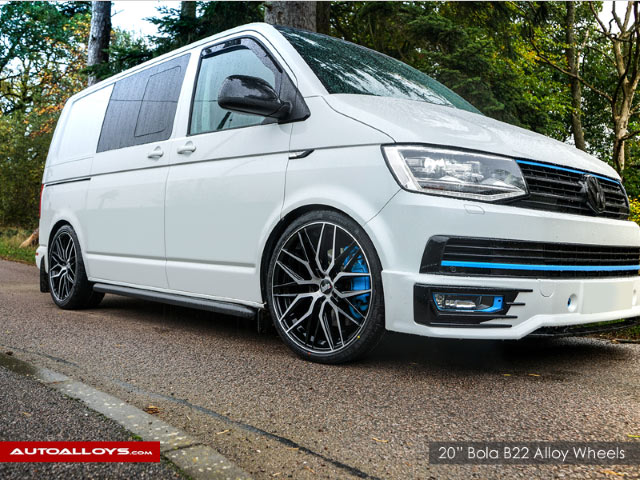Volkswagen T6                                                    20 inch Bola B22 Black Brushed Face Alloy Wheels