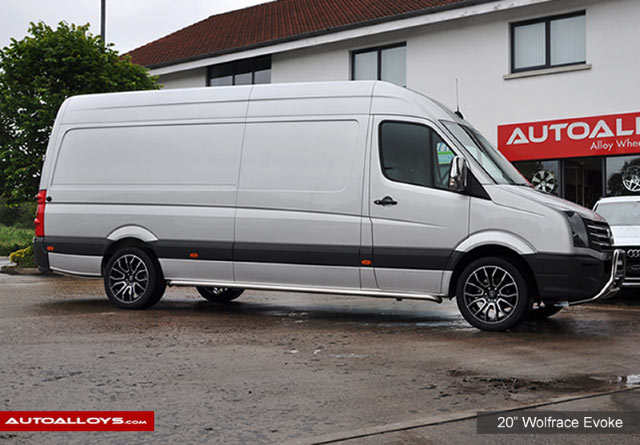 Volkswagen Crafter 16 on  20 inch Wolfrace Evoke X Gloss Black Polished Face