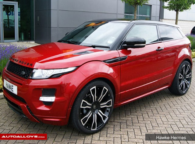Land Rover Evoque 11 On 22 inch Hawke Hermes Black Polish Alloy Wheels