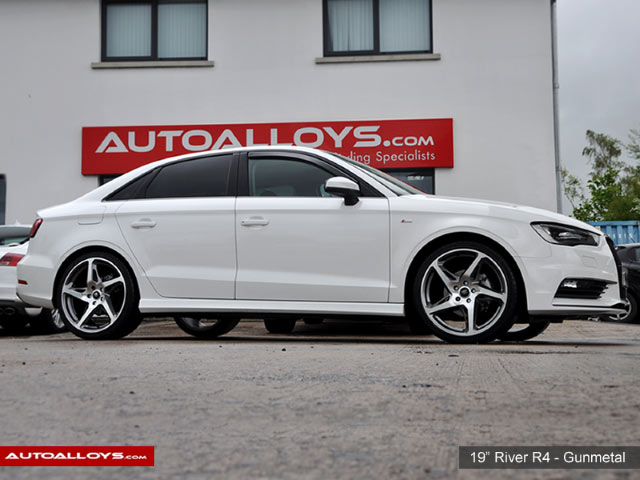 Audi A3 12 On (MK3) (8V) 19 inch River R-4 GunMetal Polished Alloy Wheels
