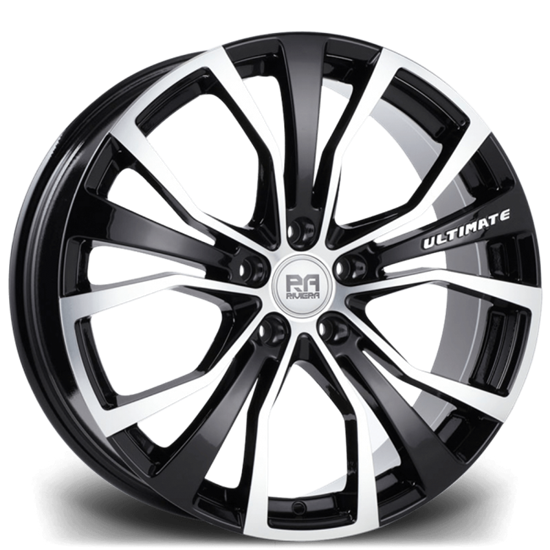 "18"" Riviera Ultimate Black Polished Alloy Wheels"