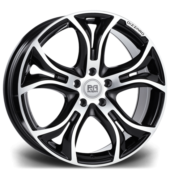 "18"" Riviera Dizzard Black Polished Alloy Wheels"