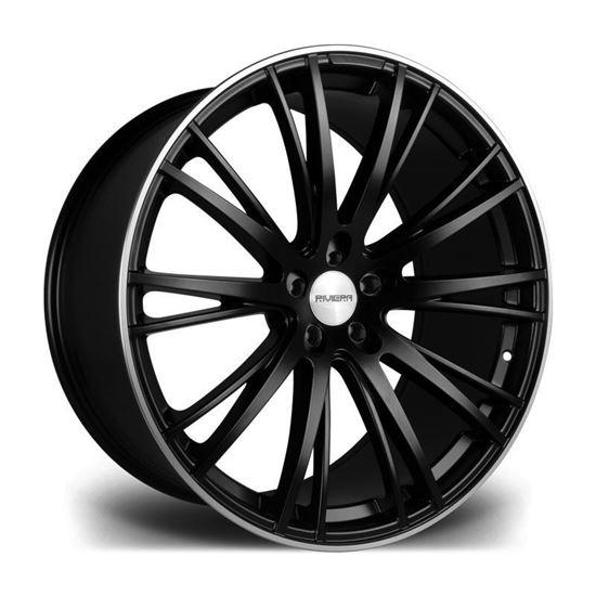 """22"""" Riviera RV128 Matt Black Polished Lip Alloy Wheels"""