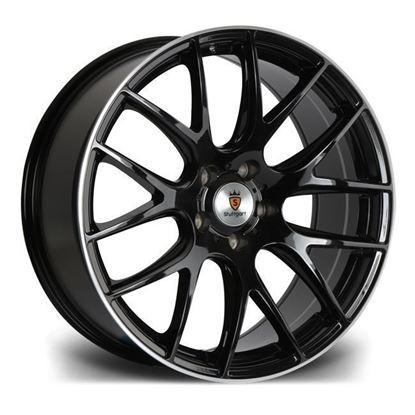 """19"""" Stuttgart ST3 Gloss Black Polished Lip Alloy Wheels"""
