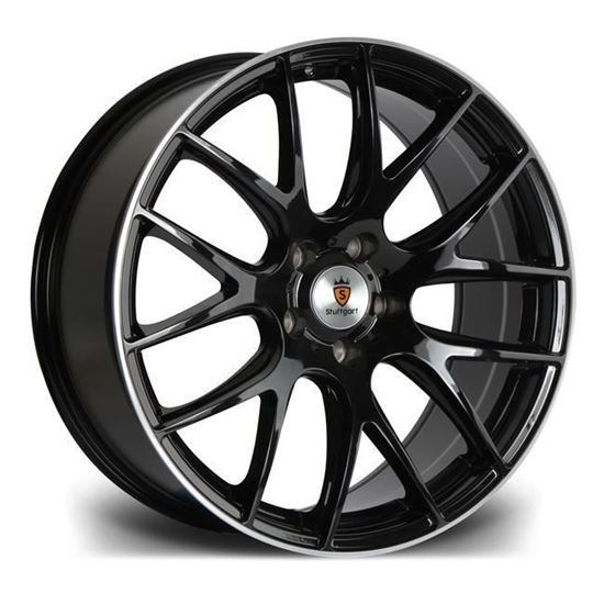"19"" Stuttgart ST3 Gloss Black Polished Lip Alloy Wheels"