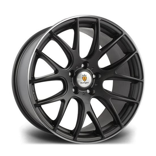 "18"" Stuttgart ST3 Matt Black Polished Lip Alloy Wheels"