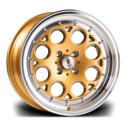 "15"" Stuttgart ST6 Gold Polished Alloy Wheels"