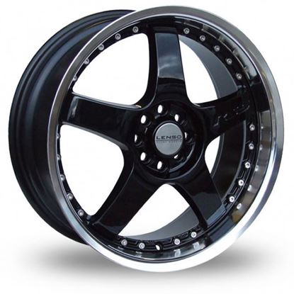 "15"" Lenso RS5 Black Mirror Lip Alloy Wheels"