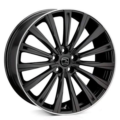 "20"" Hawke Chayton Black Polish Lip Alloy Wheels"
