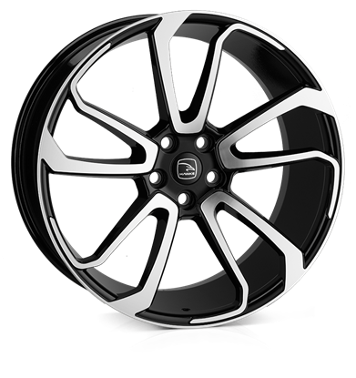 "22"" Hawke Falkon Black Polish Alloy Wheels"