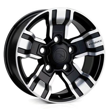 "18"" Hawke Osprey Black Polish Alloy Wheels"