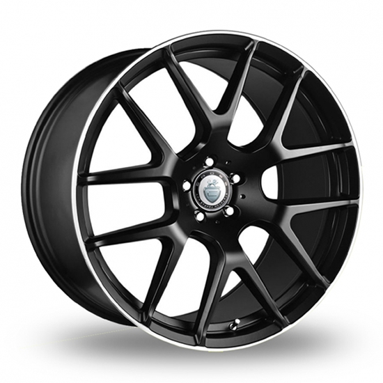 "22"" Cades Comana Matt Black Polish Lip Alloy Wheels"