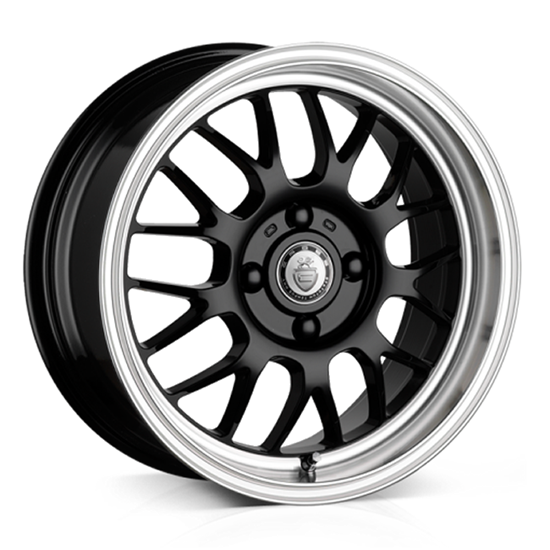 "15"" Cades Eros Black Polish Lip Alloy Wheels"