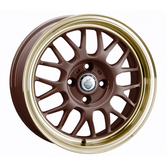 "15"" Cades Eros Brown Gold Lip Alloy Wheels"