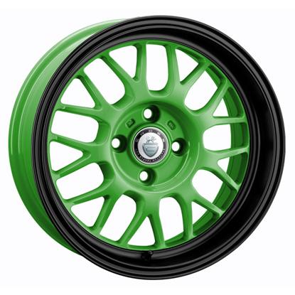 """15"""" Cades Eros Green Black Lip Alloy Wheels"""