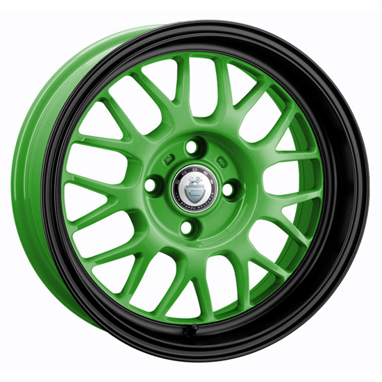 "15"" Cades Eros Green Black Lip Alloy Wheels"