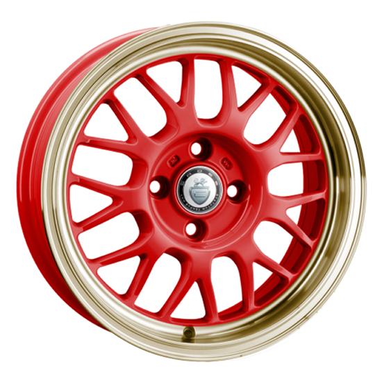 """15"""" Cades Eros Red Gold Lip Alloy Wheels"""