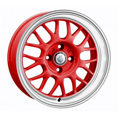 "15"" Cades Eros Red White Lip Alloy Wheels"