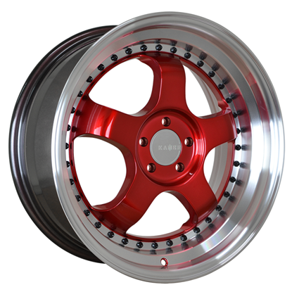 "15"" Kambr 150R Candy Red Polished Lip Alloy Wheels"
