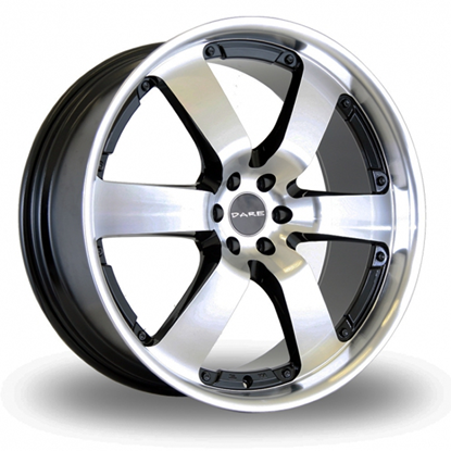 """20"""" Dare Outlaw Black Polished Face Alloy Wheels"""