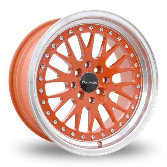 "15"" Dare DCC Orange Polished Alloy Wheels"