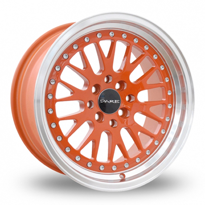 "16"" Dare DCC Orange Polished Alloy Wheels"