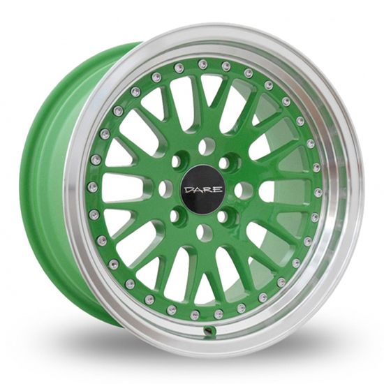 "15"" Dare DCC Green Polished Alloy Wheels"