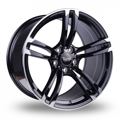 "18"" Targa TG1 Gloss Black Polished Edge Alloy Wheels"