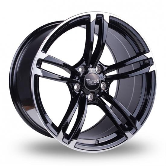 "18"" Targa TG1 Gloss Black Polished Edge Alloy Wheels"