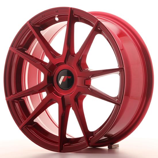 "19"" Japan Racing JR21 Platinum Red Alloy Wheels"