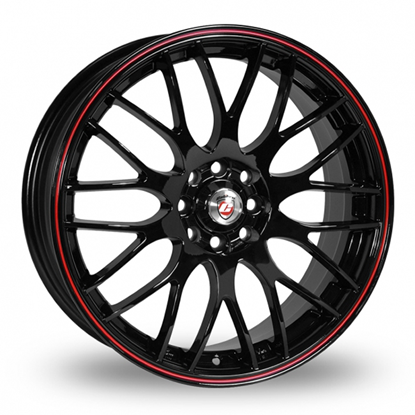 "15"" Calibre Motion Black Red Pinstripe Alloy Wheels"