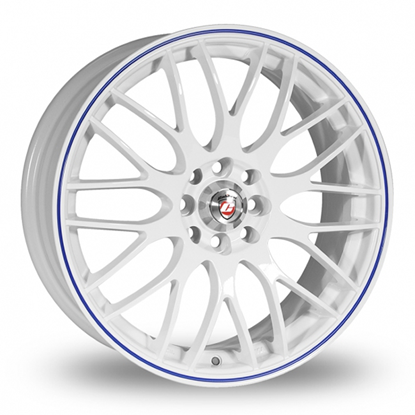 "15"" Calibre Motion White Blue Pinstripe Alloy Wheels"