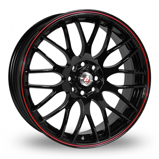"17"" Calibre Motion Black Red Pinstripe Alloy Wheels"