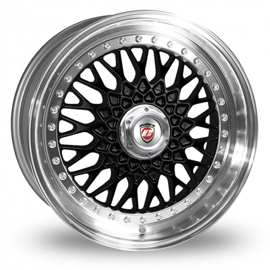"16"" Calibre Vintage Black Polished Lip Alloy Wheels"