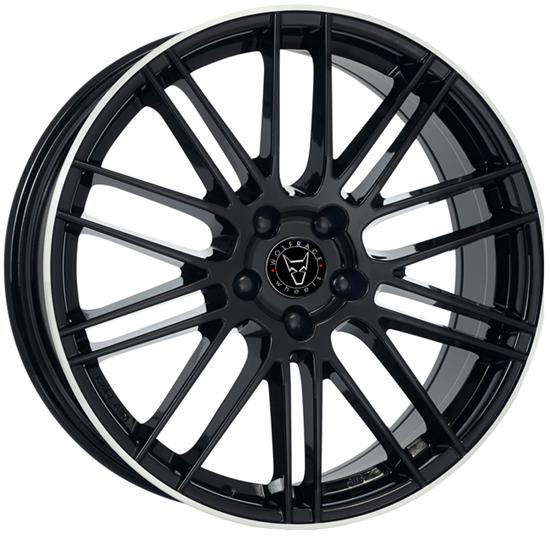 "18"" Wolfrace Kibo Gloss Black Polished Alloy Wheels"