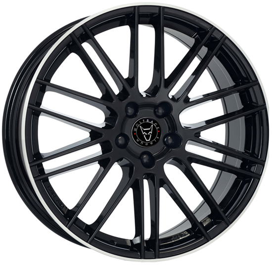 "20"" Wolfrace Kibo Gloss Black Polished Alloy Wheels"