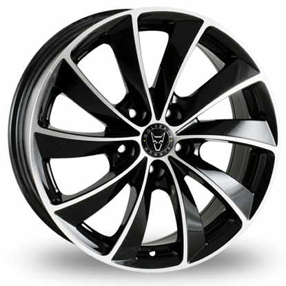 "17"" Wolfrace Lugano Gloss Black Polished Alloy Wheels"