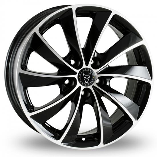 "18"" Wolfrace Lugano Gloss Black Polished Alloy Wheels"