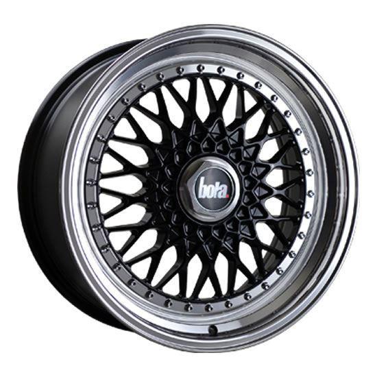 """18"""" Bola TX09 Black Polished Lip Alloy Wheels"""
