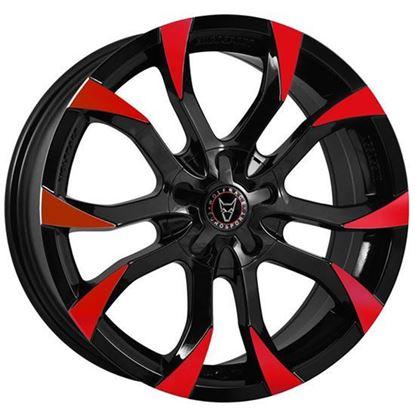 "16"" Wolfrace Assassin Gloss Black Red Tips Alloy Wheels"