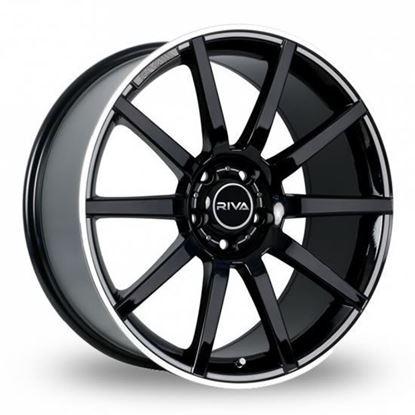 "18"" Riva BNZ Gloss Black Polished Lip Alloy Wheels"