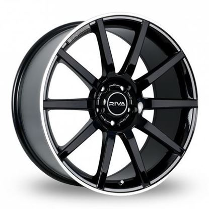 "19"" Riva BNZ Gloss Black Polished Lip Alloy Wheels"