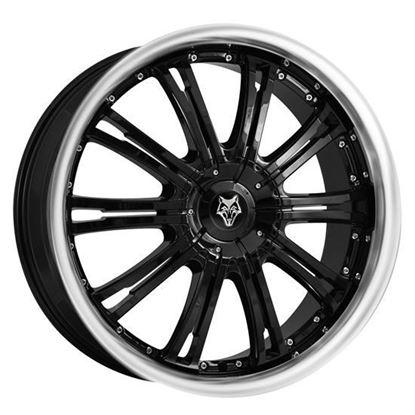 "20"" Wolfrace Vermont Gloss Black Polished Lip Alloy Wheels"