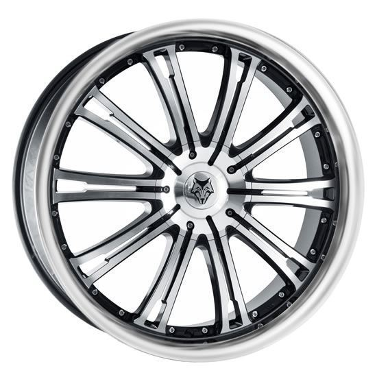 """22"""" Wolfrace Vermont Gloss Black Polished Face & Lip Alloy Wheels"""
