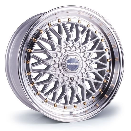 "17"" Dare DR-RS Silver Gold Rivets Alloy Wheels"