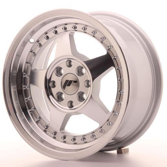 "15"" Japan Racing JR6 Machined Silver Alloy Wheels"