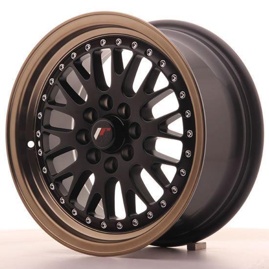 "15"" Japan Racing JR10 Matt Black Bronze lip Alloy Wheels"