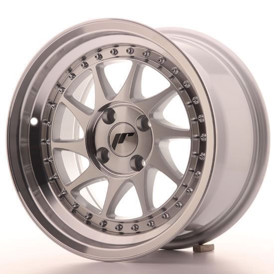 "15"" Japan Racing JR26 Machined Silver Alloy Wheels"